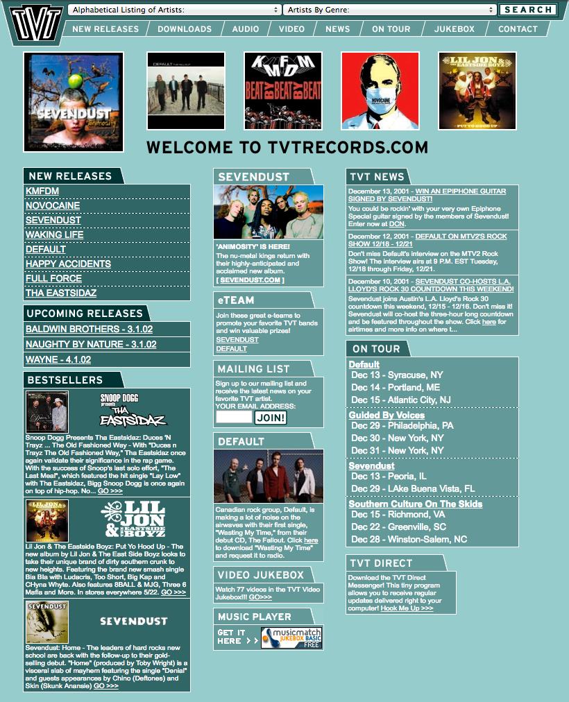 Website design TVT Records