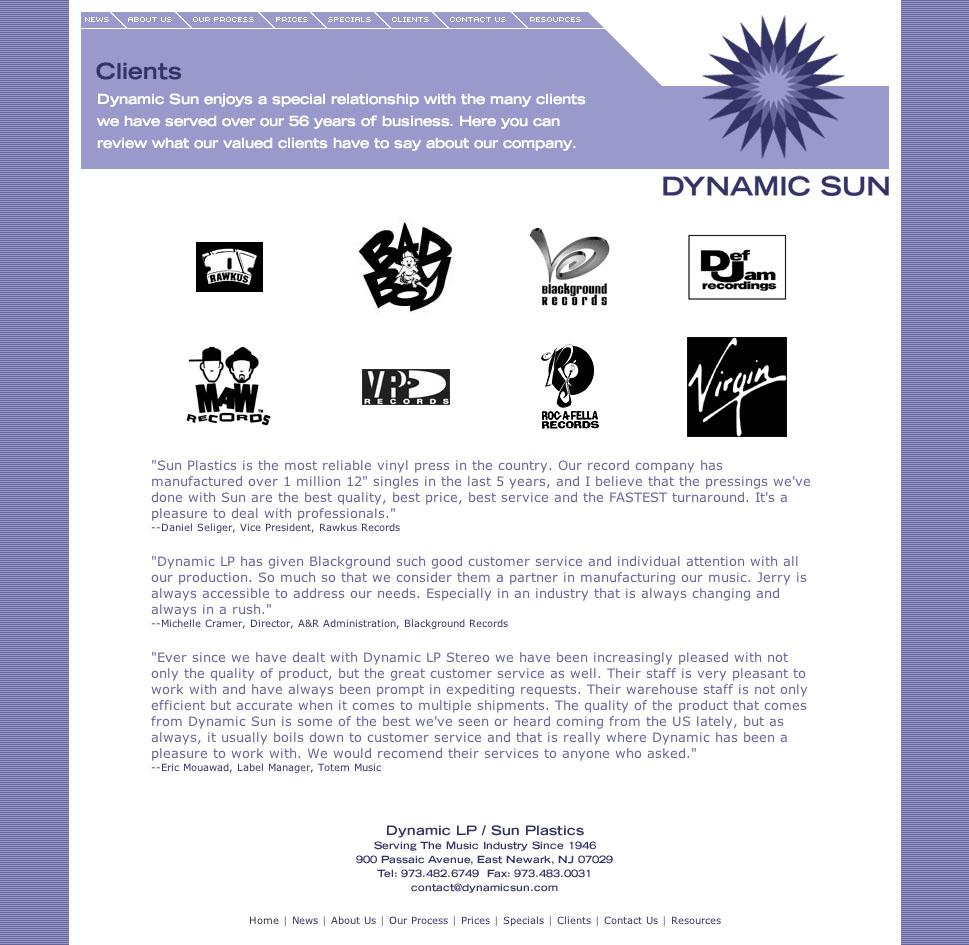 Website design Dynamic Sun
