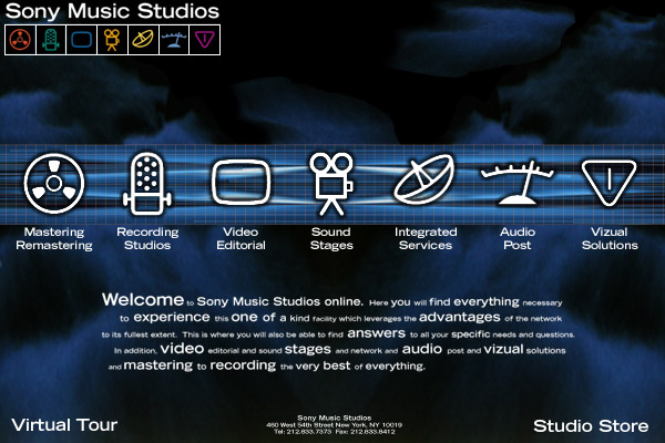 Website design Sony Music Studios
